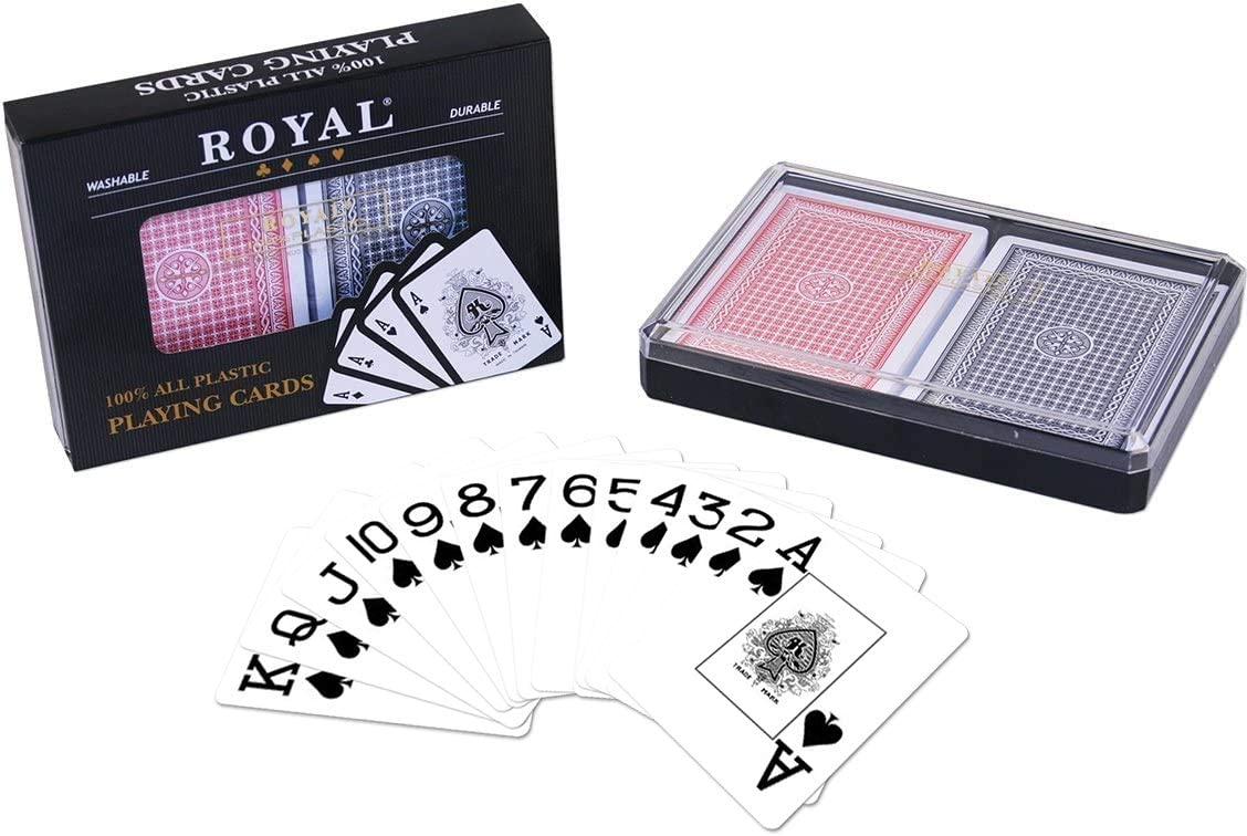 Amazon Com 2 Decks Royal Poker Size 100 Plastic Playing Cards Set In Plastic Case Waterproof Large Jumbo Index Sports Outdoors