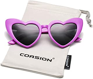 COASION Kids Polarized Heart Shaped Sunglasses TPEE...