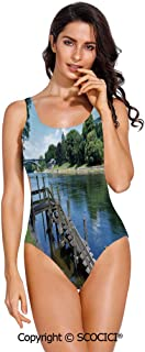SCOCICI Swimsuit Bikini Cool Canine Elements Paw Marks and Bones Ornamental Abs