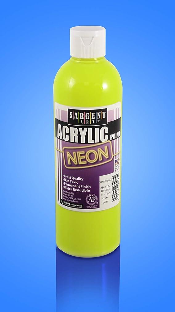 Sargent Art 29-3177 16oz Neon Acrylic Paint, Chartreuse