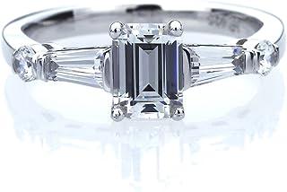 خاتم من الفضة الإسترلينية مطلي بالبلاتين عيار 1 قيراط من حجر الزمرد مع خاتم خطوبة من الرغيف الفرنسي (مقاس 5 إلى 9)