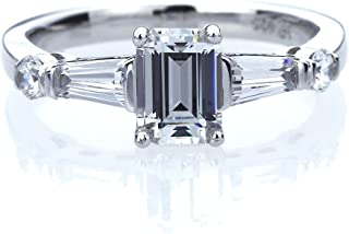 Platinum Plated Sterling Silver 1ct Emerald Cut CZ with Baguette Wedding Engagement Ring (Size 5 to 9)