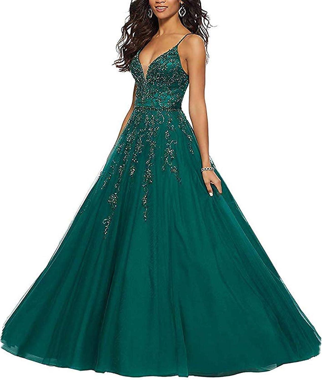 TTYbridal VNeck Beaded Prom Dress Spagetti Strap Aline Evening Formal Dresses P127