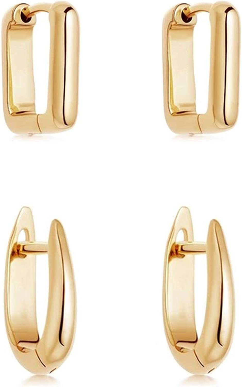 Erpels Geometric Chunky Earrings Gold Square U-shape Circle Hoop Earrings for Women Girls