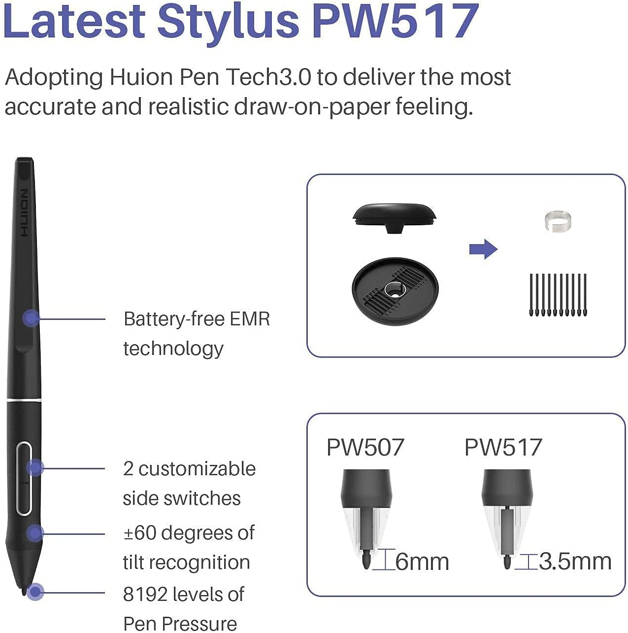 2020 HUION Kamvas 13 Graphics Drawing Tablet Monitor Android Support with Full Laminated Screen Battery-Free Stylus 8192 Pressure Sensitivity Tilt 8 Express Keys Adjustable Stand, Come with 20 Pen Nib