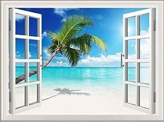 選べる ウォール ステッカー 窓 の 風景 いろいろ (白いビーチ 一本ヤシ 70x50cm)