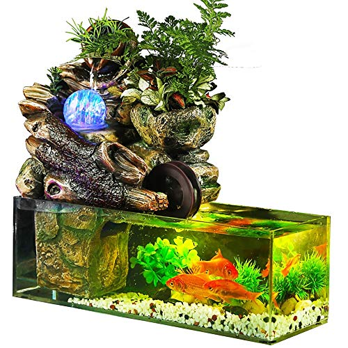 KHTO Fish Tank Kit – 3 Liter Acrylic Fish Aquarium with Artificial Landscape – Includes Crystal Ball, Rockery, Water Pump – Ultra-Sturdy Foam Packaging – Ideal for Home, Office