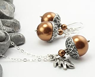 Acorn Jewelry Set with Oak Leaf Charm. Copper Colored Simulated Pearls by Swarovski, 16 inches long
