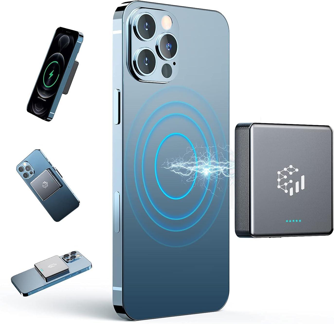 Feerory 10000mAh Magnetic Wireless Power Bank,2021 Twice Battery Capacity But Half Mini Size & Lightweight, 20W Fast Magnetic Wireless Portable Charger for iPhone 12 &13 / Pro/Mini/Pro Max