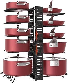 Estante para ollas 10 niveles de altura ajustable con pies antideslizantes 3 métodos de bricolaje armario de cocina exp...
