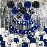 SKYIOL Decoración de cumpleaños para niños, diseño de hombre, azul, plateado y blanco, 43 unidades, con globos de látex de helio, cortina de lluvia, estrellas y pompones para fiestas de bebés