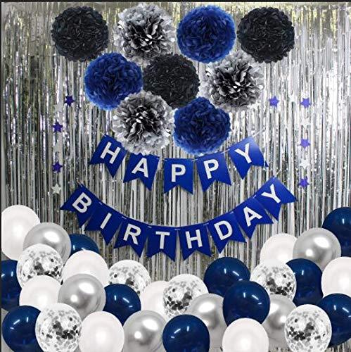 Décoration Anniversaire Garçon Bleu Argent Blanc SKYIOL Kit Arche Happy Birthday 43 pcs avec Ballon Latex Helium Rideau de Pluie Guirlande Étoiles Pompons pour Enfants Homme Fête Deco