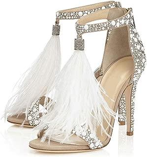 Women's Tassels Rhinestone Heeled Sandals Wedding Dress White Sandals Stiletto Heel Pearl