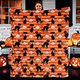 CEZEHAJI Funy Decor Halloween Super Soft Throw Blankets Warm Cozy Flannel Bed Halloween Unique Gifts Black cat bat Design Blanket Decorative for Home Sofa Couch Chair Living Bedroom (40'x 50')