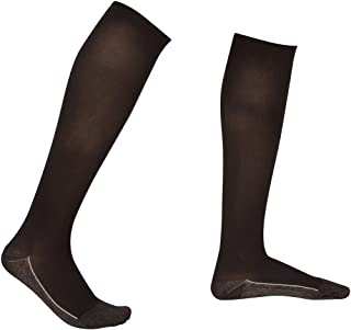 2 Pair EvoNation Men's Copper USA Made Graduated Compression Socks 20-30 mmHg Firm Pressure Medical Quality Knee High Orthopedic Support Stockings Hose - Comfort,  Circulation,  Travel (Large,  Black)