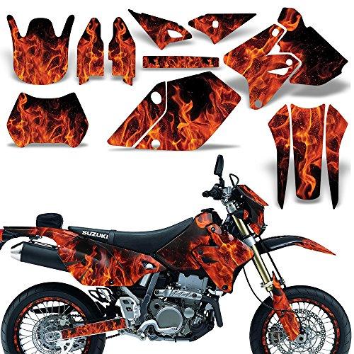 Wholesale Decals MX Dirt Bike Graphics kit Sticker Decal Compatible with Suzuki DR-Z400 SM E 2000-2018 - Flames Orange