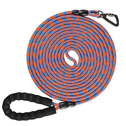 NTR Long Dog Leash, 20FT Check Cord with Swivel Lockable Hook and Comfortable Padded Handle for Reflective Dog Leash for Small Medium and Large Dogs Walking Training Hiking Camping Playing