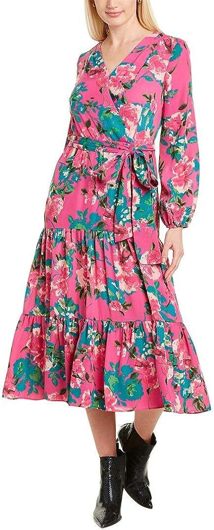 Tahari ASL Women's Long Sleeve Floral Print Surplus Dress with Prairie Skirt