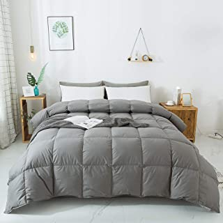 WhatsBedding 100% Cotton Down Comforter Goose Duck Down and Feather Filling,Hypoallergenic Comforter. All Season Duvet Grey Insert or Stand-Alone Down Comforter (Dark Gray Comforter King)