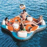 DNNAL Inflatable Chair Floats, Multiplayer Floating Bed Tent House Boat Pool Rafts Inflatable Ride-Ons with Cup Holders River, Lake, Pool Tube Float