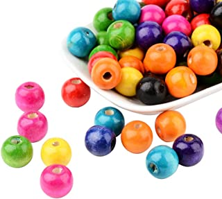 Pandahall 100pcs Assorted Color Dyed Lead Free Round Wood Beads for Children's Day Gift Making