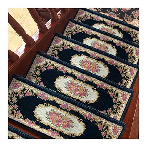 YOGANHJAT Treppenteppich zuschneidbar robuste Allzweck Innen selbstklebend rechteckig treppenstufen matten Teppich Stufenmatten für Treppen Außen und Innen 26X75cm,Blau,15pieces