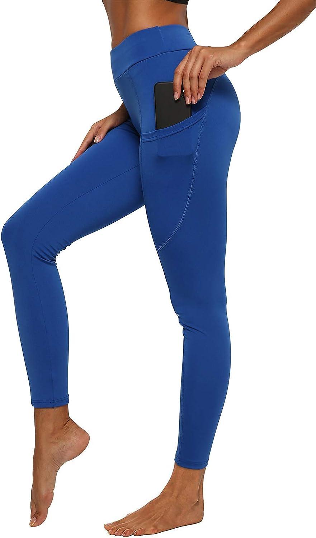 iloveSIA High Waist Sport Leggings Damen Lang Blickdicht Sporthose Fitness Yogahose Mit Taschen