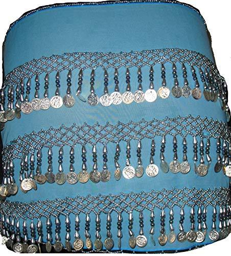 Egypt Bazar Bauchtanz Hüfttuch Münzgürtel Hüftgürtel in Rechtecksform, DREI Reihen Silber Münzen,Farbe türkis
