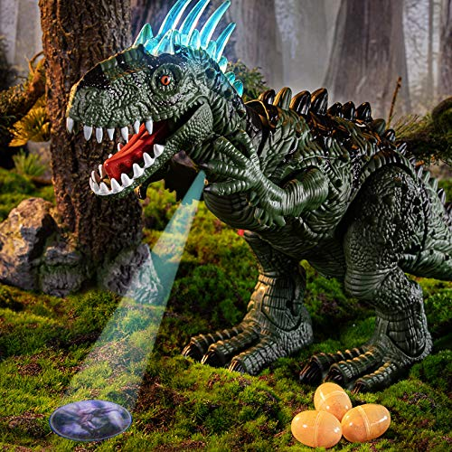 TEMI Electronic Walking Dinosaur with Projection, Flashing Horns and Can Lay Eggs, Jurassic Tyrannosaurus Roars, Moves Mouth and Wags Tail, Battery Powered Robotic T Rex Toy for Boys & Girls (Large)