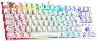HiveNets 87キー メカニカルキーボード 青軸 ゲーミングキーボード 10パターン LED バックライトモード 有線 Win10/Win 8/Win7/Win7 64/XP/Vista/Vista 64/Mac対応 日本語配列 (ホワイト)
