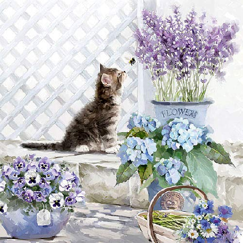 Serviette 'Kätzchen und Blumen' 20 Stück