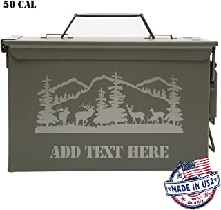 Army Force Gear Personalized Engraved Ammo Can Deer Grazing in The Forest Laser Waterproof Tactical Storage Survival Box
