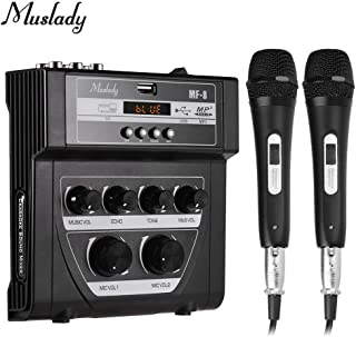 RuleaxAsi MF-8 Mini Sound Audio Mixer Stereo Echo Mixers Dual Mic Inputs Support BT Recording MP3 Function with 2 Set Wire...