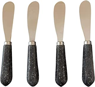 CIROA Black Granite Cheese Spreader Set | Set of 4 Stone Look and Stainless Steel Spreaders in Gift Box