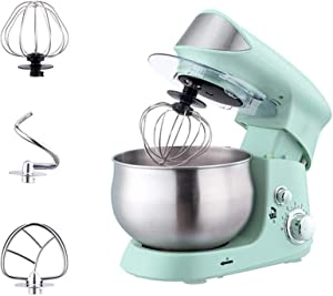 SHUILV Electric Kitchen Food Stand Mixer Dough Blender 6-Speed with Planetary Mixing System Beater Dough Hook Whisk (Color : Green)
