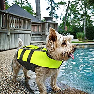 Namsan Dog Life Jacket Portable Inflatable Dog Life Vest Adjustable Swimming Suit, Reflective Safety Preserver with High Floating for Small, Medium, Large Dogs