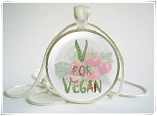 Fashion cool jewelry Vegan Necklace ,Vegan Pendant ,Dome Glass Ornaments, Pure Hand-Made