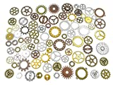 100 Grams Assorted Machine Clock Cog Wheel Gear Punk Steampunk Charm Pendant Connector for Necklace Bracelet Anklet DIY Jewelry Making Accessories