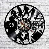 WAGUZA Football américain décor à la Maison Design Moderne Horloge Murale Rugby Football Joueur Silhouette Vinyle Record Horloge Murale Sport Amoureux Cadeau