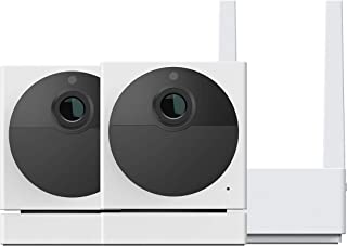 Wyze Cam Outdoor Bundle (Includes Base Station and 2 Cameras), 1080p HD Indoor/Outdoor Wire-Free Smart Home Camera with Ni...