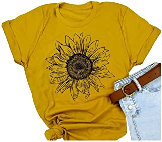 HRIUYI Sunflower Shirts for Women Cute Graphic Tee Shirts Letter Print Funny Tee Shirts Top