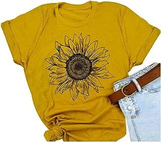 Monaisha Women Short Sleeve Sunflower T-Shirt Cute Funny Graphic Tee Teen Girls Casual Shirt Tops