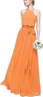 CladiyaDress Women Halter Neck Sleeveless Long Bridesmaid Dress Party Gown D070LF