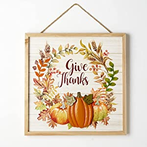 Eternhome Metal Pumpkin Sign Give Thanks Wall Decor Wood Thanksgiving Signs Vintage Harvest Festive Home Hanging Signs Rustic Halloween Autumn Front Door Decor 13
