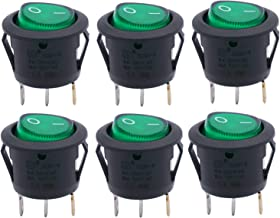 Twidec/6Pcs AC 6A/125V 10A/250V SPST 3 Pins 2 Position ON/Off Green LED Light Illuminated Boat Rocker Switch Toggle(Quality Assurance for 1 Years)KCD1-5-101N-G