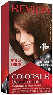 Revlon Colorsilk Beautiful Color, Permanent Hair Dye with Keratin, 100% Gray Coverage, Ammonia Free, 47 Medium Rich Brown