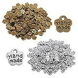 200 unidades de botones de metal antiguos hechos a mano con abalorios colgantes hechos a mano para manualidades, accesorios de ropa, decoración hecha a mano