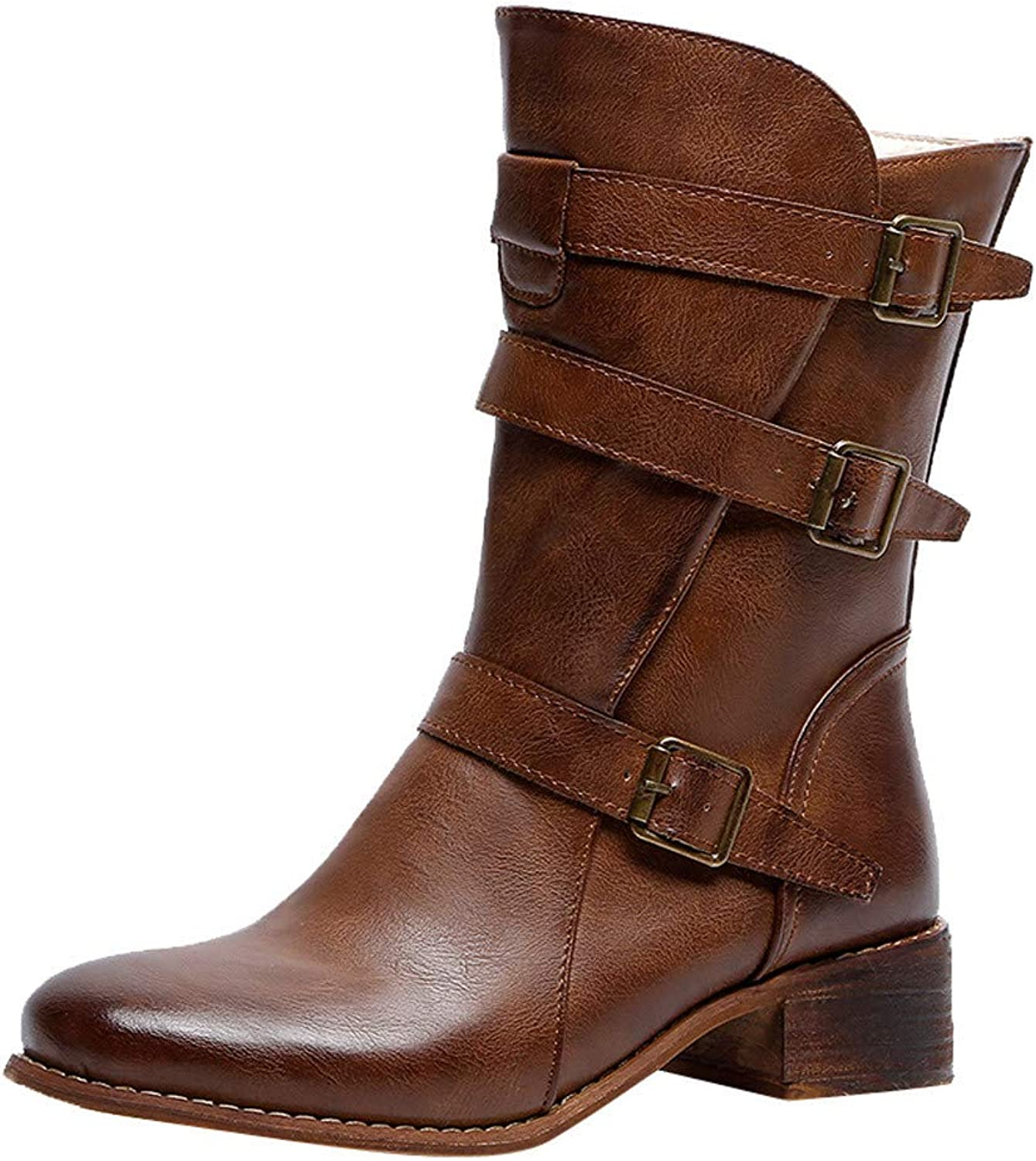 Anxinke Ladies Leather Buckle Strap Zipper Casual Boots