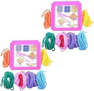 2 Sets Handcrafts Knitting Loom Kit Plastic Knitting Looms Toy Crochet Weaving Crafts Kit for Beginners Kids