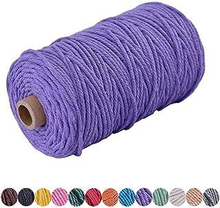 Ann Bully Macrame Cord DIY Natural Yarn Cotton Macrame Rope 3mm Cotton Cord Cotton Yarn Twine String Cord for DIY Wall Pla...
